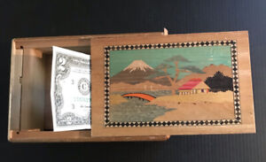 Vintage Hand Made Japanese WOOD PUZZLE BOX Mt. Fuji Trick Opening W/ $2 Bill