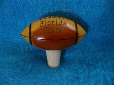 Florida State Go Noles Wood Carved Football Bar Wine Bottle Cork Stopper Topper