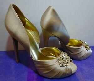 NINE WEST Champagne Satin Stiletto Peep Toe Pumps Platform Heels. Size Au 10M.