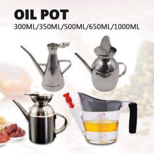 Stainless Steel Kitchen Olive Oil Bottle Vinegar Dispenser Pourer Cooking Pot