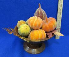 Vintage Harvest Wooden Bowl John Cowden Carved & Sugar Glitter Pumpkins Gourds