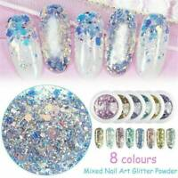 Holographic Nail Art Glitter Powder Dust UV Gel Acrylic Sequins Decoration Tips