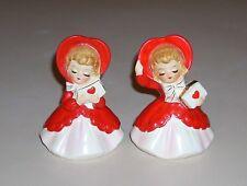 Vintage Lefton Valentine Girl Figurines with Heart Shaped Bonnets 033 Japan