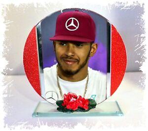Lewis Hamilton Formula 1 Cut Glass Round Plaque Limited Edition #1