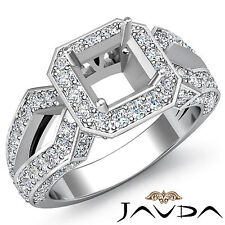 Halo Diamond Engagement Filigree Ring Asscher Shape Semi Mount Platinum 1.4Ct