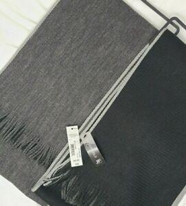 NWT Men's JF J Ferrar Knit Scarf Fringe Ends Reversible Black Gray MSRP $36