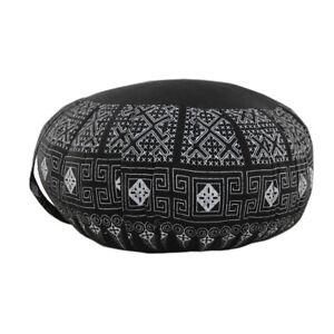 Zafu Meditation/Yoga Cushion with Carrying Handle - Batik Style Black DMBT08-1