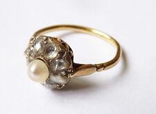 Bague  OR massif 18k + perle+ diamants  Bijou ancien gold ring 19e siècle 00