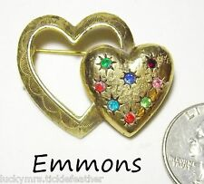 Vtg Signed EMMONS Pin/Brooch, Textured GT Double Heart w/Multi-Color Rhinestones