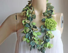 Green Crochet Scarf-Leaves Necklace Scarf-Multicolor Lariat Scarf-Necklace Scarf