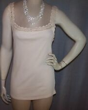 LAUREN RALPH LAUREN LG 36+ BUST IVORY CROCHET TRIM SLEEVELESS TANK TOP
