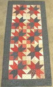 """Hand Made Quilted Table Runner/Topper ~18 1/2"""" x 39"""" ~Red, Cream, Dark Grey"""