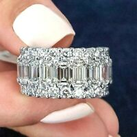 Women's 5.50 Ct Emerald Cut Diamond Wedding Band Ring 14k White Gold Finish