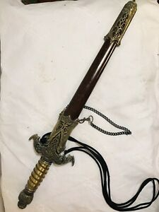 """Dagger Chinese Stainless Steel 21"""" With Sheath.See12pix4Details/size. MAKE OFFER"""