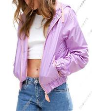 Cappotti e giacche da donna impermeabili viola con cerniera