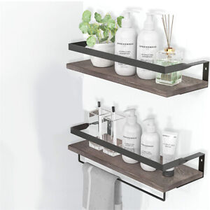 2 Tier Rustic Solid Floating Shelves Decorative Storage Racks with Towel Bar Rod