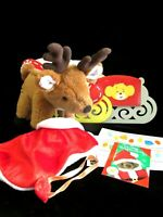 Build A Bear Holiday Reindeer Plush Special 2005 w Red Nose Cape Sleigh Stickers