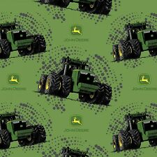 John Deere Big Time Tractor Multi Tractors Logos 100% Cotton Green Fabric - BTY