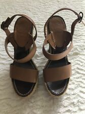 Women's Christian Louboutin Brown Macarena Wedge Heel Sandals Sz 35.5