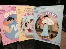 Lot Of 3 Disney Paper Dolls. Cinderella, Snow White and The Little Mermaid.