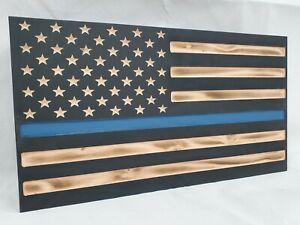 "19"" Thin Blue Line Black Burnt American Flag hidden gun storage police gear"