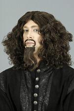 Perruque mousquetaire brune avec moustache et barbichette deguisement carnava
