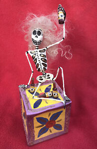 Mexican Folk Art Day Of The Dead Papier Mache Wild Haired Skeleton Drinking Beer