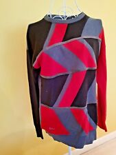 Gabicci Women Jumper Sweater Knitted Top Size 12 L Red Black Grey Made in Italy