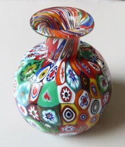 Vintage 8cm Tall Multicoloured Venetian Murano Glass Vase