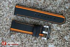 Lum-Tec Watches 22mm 480 Racing Stripe Orange Canvass Strap Buckle NOT Included