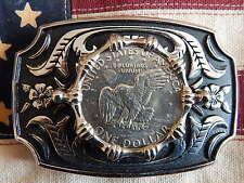 Nouveau grand Américain USA un dollar coin boucle de ceinture argent / noir metal Western