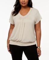 Jm Collection Women's 3x Plus Size Shirt Blouson Top, V Neck, Beige, $40, NwT