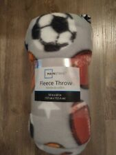 BRAND NEW! SPORTS-THEMED FLEECE THROW, 50 inches X 60 inches!