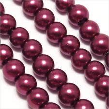 100 perles Nacrées 4mm Violet prune verre en de Bohème