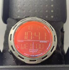 Diesel Mens Digital Crusher DZ1893 Black Silicone Strap Watch 46mm New With Box
