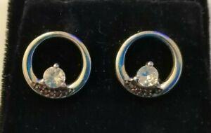 Sterling silver, garnet & white topaz earrings