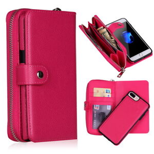 For iPhone 11 8Plus XS XR 7 8 PU Leather Card Wallet Zipper Bag Stand Case Purse