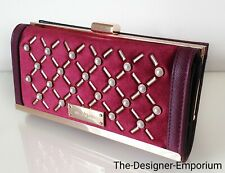 River Island Designer Dark Red Pearl Studded Cliptop Purse Wallet Gift
