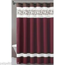 """Essential Home Isabelle Fabric Shower Curtain 72"""" x 72"""" - Cranberry/Burgundy"""