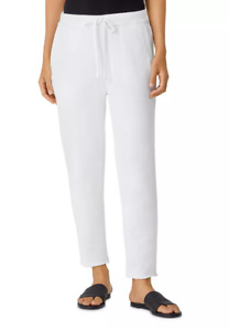 EILEEN FISHER White Cotton French Terry Ankle Track Pants Large Petite NWT $178