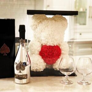 Hot 40cm Artificial Rose Heart Teddy Bear Handmade Bear of Roses For Women Valen
