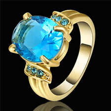 Ring Size 6 CZ Blue Aquamarine Crystal Lady's 18K Yellow Gold Filled Wedding