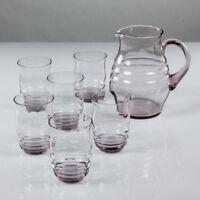 Saft Krug Set Glas Rosè alte Limonaden Gläser Lausitz 30er 40er Jahre Art Deco