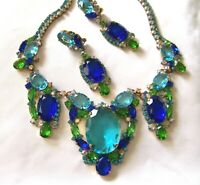 Spectacular CZECH Sapphire Blue & Aqua  Rhinestone Glass Couture Necklace Set