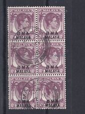 MALAYSIA  BMA 1945  S G  8    10C  PURPLE BLOCK OF 6 USED