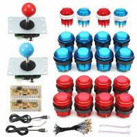 2x LED Arcade Mame DIY Kit Parts Push Buttons + Joysticks + USB Encoders For PC