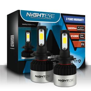 Nighteye LED Headlight H7 Replace Light Kit 2xBulbs High/Low Beam 9000LM 6500K
