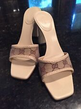 """Gucci Canvas GG 4"""" Mules, wood heals, 8.5, excellent condition"""