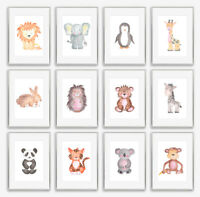 Safari Animal Baby Nursery Art Prints Set Childrens Bedroom Decor Gift Boy Girl