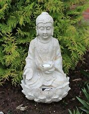 Garden Buddha ornament sitting, Solar powered light up large outdoor indoor